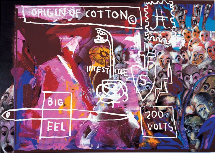 Francesco-Clemente-Jean-Michel-Basquiat-and-Andy-Warhol-Origin-of-Cotton-1984
